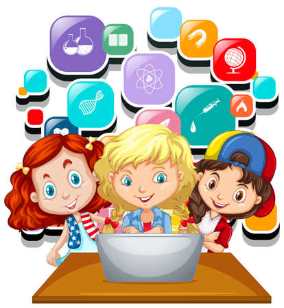 working on computer: Three girls working on computer laptop illustration