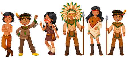 tribu: Muchos indios americanos nativos en trajes ilustración Vectores
