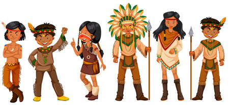 Many native american indians in costumes illustration