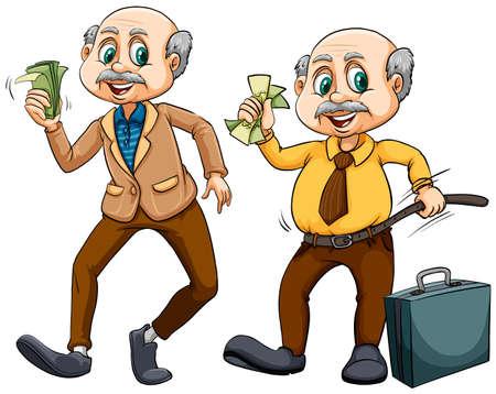 お金のイラストが 2 つの歳の男性