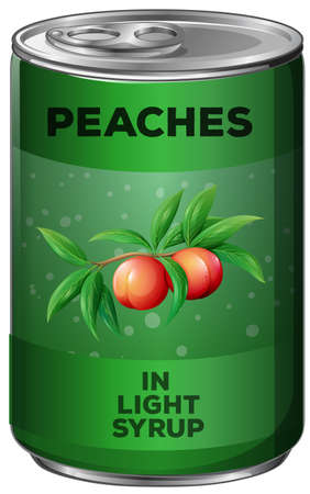 Peaches in green can illustration