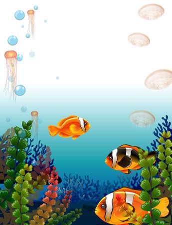 Underwater scene with fish swimming illustration Illustration