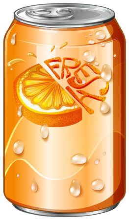tin packaging: Fresh drink in orange can illustration