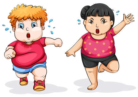 exhausted: Fat man and woman exercise illustration