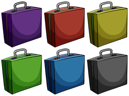 belongings: Briefcases in six colors illustration Illustration