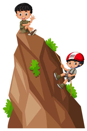 Two boys climbing up the mountain illustration