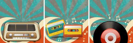 old radio: Retro background design with old radio and casettes illustration
