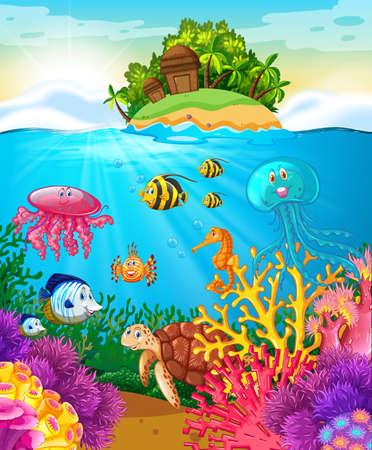 Zeedieren zwemmen onder de zee illustratie