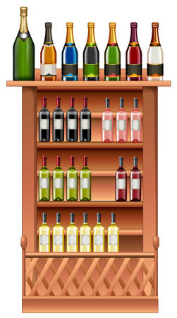 alcohol series: Champagne and wine bottles on shelves illustration