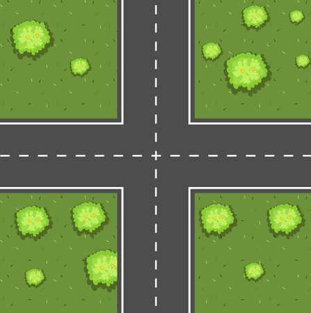 Aerial scene of intersection illustration