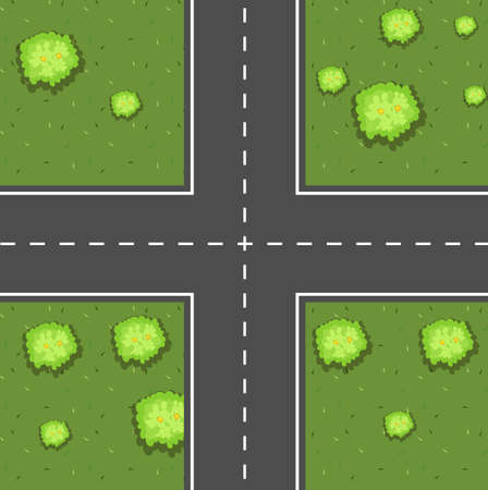 Lucht toneel van kruispunt illustratie Stock Illustratie