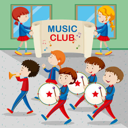 marching band: Children in the band marching illustration Illustration