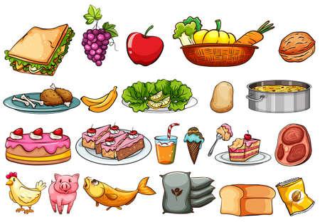 Eten en ingrediënten set illustratie