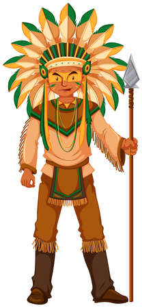 spear: Native American Indian holding spear illustration