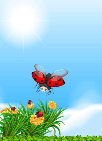 Ladybug flying in the garden illustration Illustration