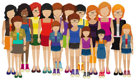 ladies shoes: Group of people with different ages illustration Illustration