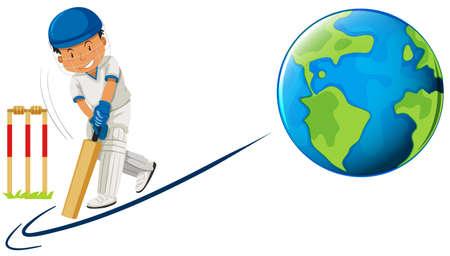 Man playing cricket on earth illustration Illustration