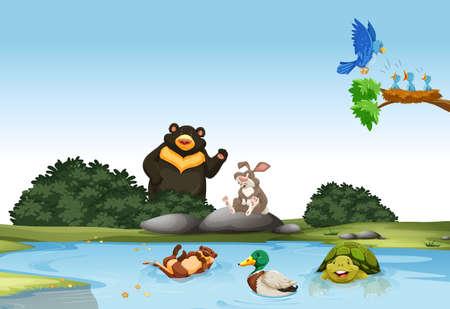 castor: Animales en el campo verde ilustración