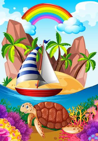 Ocean scene with turtle underwater illustration