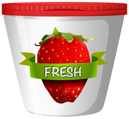 plastic cup: Fresh strawberry in plastic cup illustration