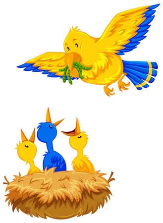 oiseau dessin: Mère alimentation des oiseaux oisillons illustration Illustration