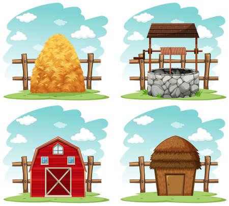 source d eau: Différentes choses dans l'illustration de la ferme