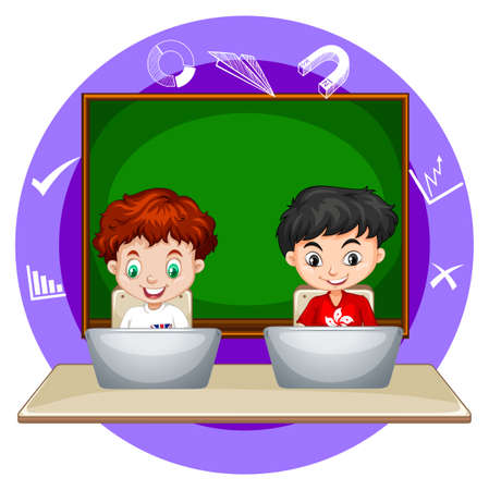 working on computer: Two boys working on computer laptop illustration