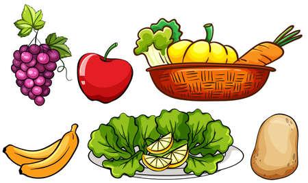 corbeille de fruits: Ensemble de légumes et de fruits illustration Illustration