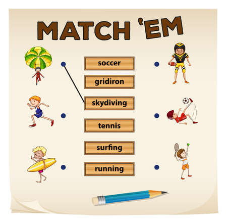 matching: Matching game with sport and people illustration