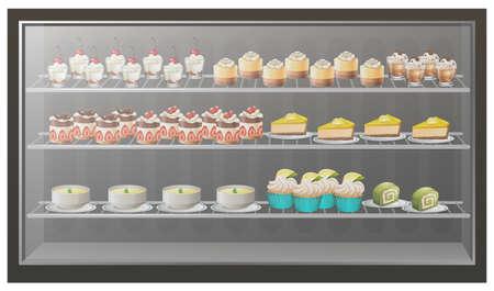 soup: Different kinds of desserts on the shelves illustration Illustration