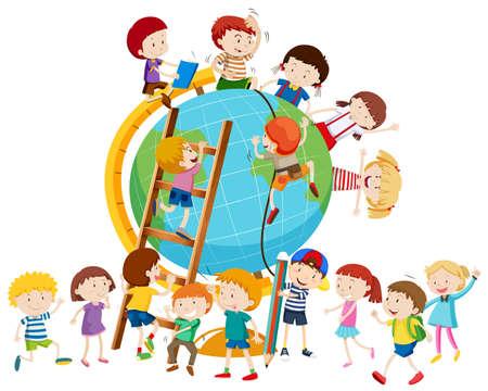 Lots of children around the globe illustration Illustration