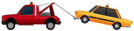 pulling: Tow truck pulling yellow taxi illustration