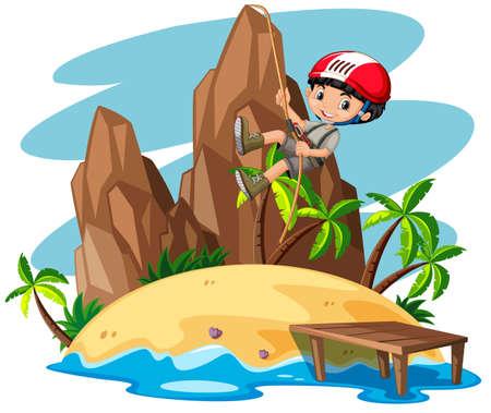 destination: Boy climbing up the mountain illustration