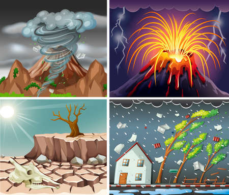 Different scenes with disasters illustration