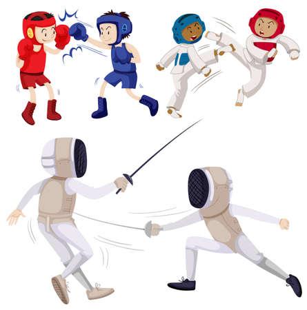 Different kinds of martial arts illustration Illustration