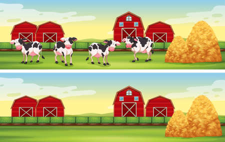 barns: Farm scenes with cows and barns illustration Illustration