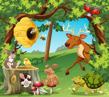 bugs bunny: Wild animals in the forest illustration