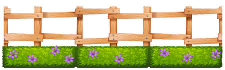 wooden fence: Wooden fence and flowers illustration