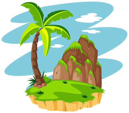 Scene with coconut tree on island illustration Illustration