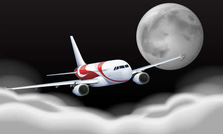 Airplane flying in the fullmoon illustration Illustration