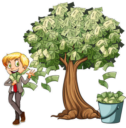 bucket of money: Money grows on tree illustration Illustration