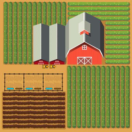 Aerial view of farmland with barns and crops illustration