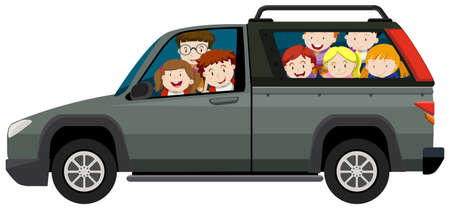 pick up truck: Kids riding on pick up truck illustration