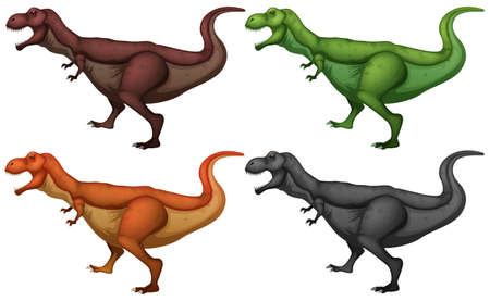 large group of objects: Dinosaur in four colors illustration