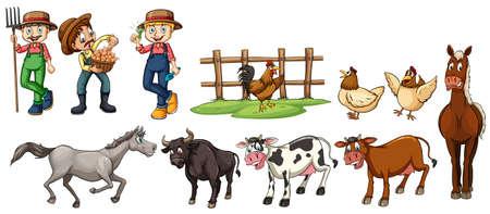 Farmers and farm animals set illustration
