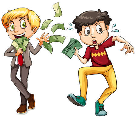 jobs people: Men with lots of money and little money illustration
