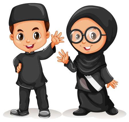 cute children: Muslim boy and girl in black costume illustration