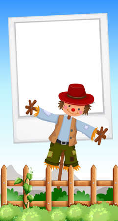 Frame design with scarecrow in field illustration Illustration