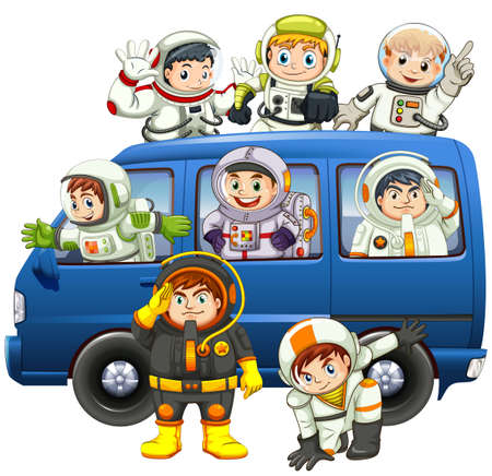 astronauts: Astronauts riding on blue van illustration