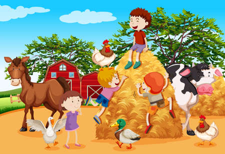 Kids playing in the farmyard illustration